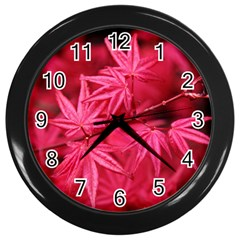 Red Autumn Wall Clock (black)