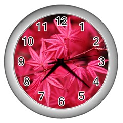 Red Autumn Wall Clock (silver)