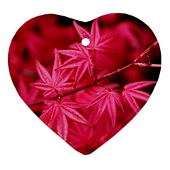Red Autumn Heart Ornament (Two Sides)