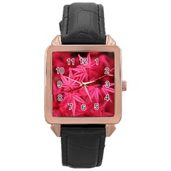 Red Autumn Rose Gold Leather Watch