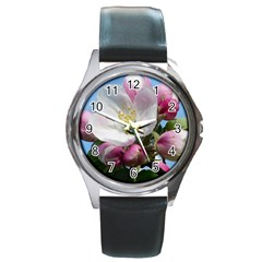 Apple Blossom  Round Metal Watch (silver Rim)