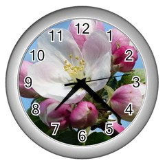 Apple Blossom  Wall Clock (Silver)