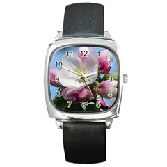 Apple Blossom  Square Leather Watch