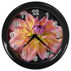 Dahlia Garden  Wall Clock (black)