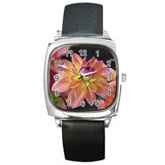 Dahlia Garden  Square Leather Watch