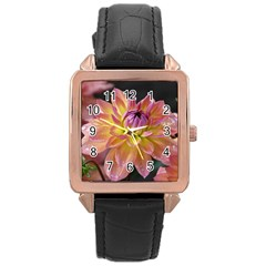 Dahlia Garden  Rose Gold Leather Watch