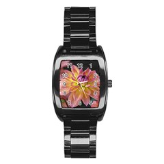 Dahlia Garden  Men s Stainless Steel Barrel Analog Watch
