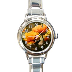 Flowers Butterfly Round Italian Charm Watch