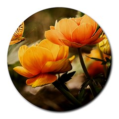 Flowers Butterfly 8  Mouse Pad (round)