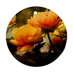 Flowers Butterfly Round Ornament