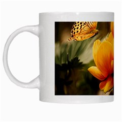 Flowers Butterfly White Coffee Mug