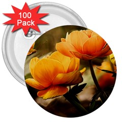 Flowers Butterfly 3  Button (100 Pack)