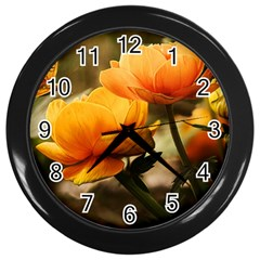 Flowers Butterfly Wall Clock (Black)
