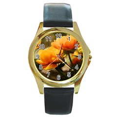 Flowers Butterfly Round Metal Watch (gold Rim)