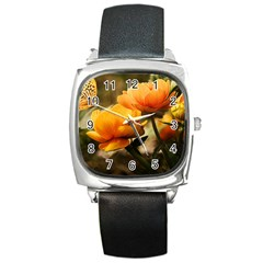Flowers Butterfly Square Leather Watch