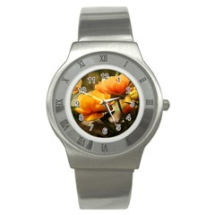 Flowers Butterfly Stainless Steel Watch (Unisex)