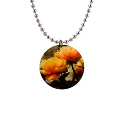 Flowers Butterfly Button Necklace