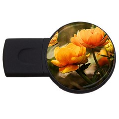 Flowers Butterfly 4GB USB Flash Drive (Round)