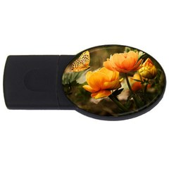 Flowers Butterfly 4GB USB Flash Drive (Oval)