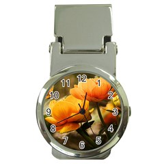 Flowers Butterfly Money Clip with Watch