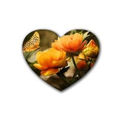 Flowers Butterfly Drink Coasters 4 Pack (Heart)
