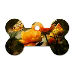 Flowers Butterfly Dog Tag Bone (Two Sided)