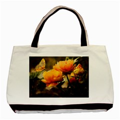 Flowers Butterfly Twin-sided Black Tote Bag