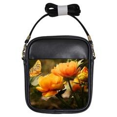 Flowers Butterfly Girl s Sling Bag