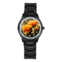 Flowers Butterfly Sport Metal Watch (Black)