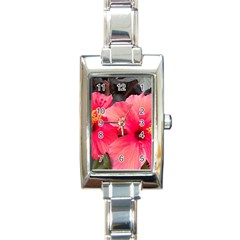 Red Hibiscus Rectangular Italian Charm Watch