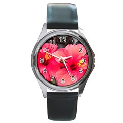 Red Hibiscus Round Metal Watch (Silver Rim)