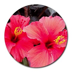 Red Hibiscus 8  Mouse Pad (round)