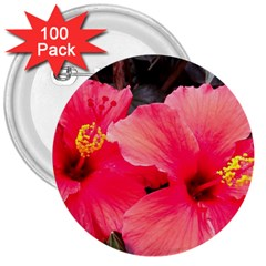 Red Hibiscus 3  Button (100 Pack)