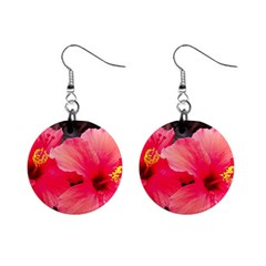Red Hibiscus Mini Button Earrings