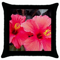 Red Hibiscus Black Throw Pillow Case