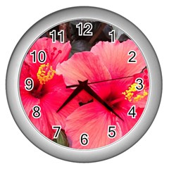 Red Hibiscus Wall Clock (silver)