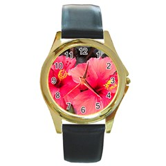 Red Hibiscus Round Metal Watch (Gold Rim)