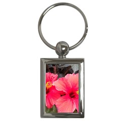 Red Hibiscus Key Chain (rectangle)