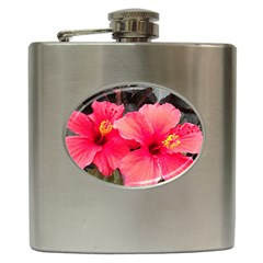 Red Hibiscus Hip Flask