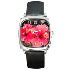 Red Hibiscus Square Leather Watch