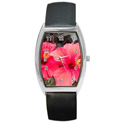 Red Hibiscus Tonneau Leather Watch