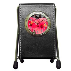 Red Hibiscus Stationery Holder Clock