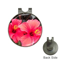 Red Hibiscus Hat Clip With Golf Ball Marker
