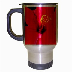 Red Hibiscus Travel Mug (Silver Gray)