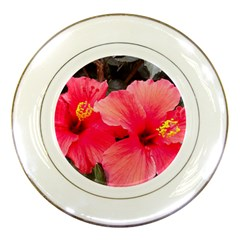 Red Hibiscus Porcelain Display Plate
