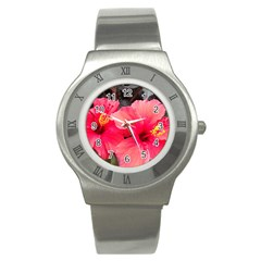Red Hibiscus Stainless Steel Watch (Unisex)