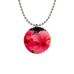 Red Hibiscus Button Necklace