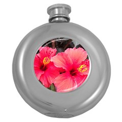 Red Hibiscus Hip Flask (Round)