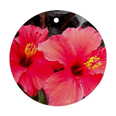 Red Hibiscus Round Ornament (Two Sides)