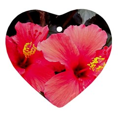 Red Hibiscus Heart Ornament (Two Sides)
